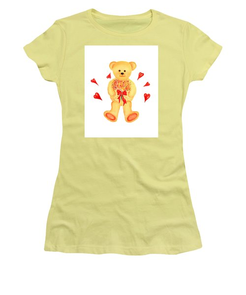 Women's T-Shirt (Junior Cut) featuring the painting Bear In Love by Elizabeth Lock