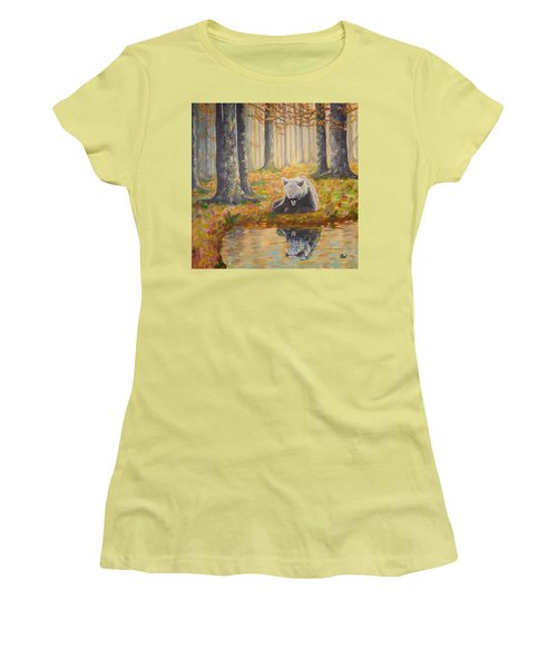 Bear Reflecting Women's T-Shirt (Athletic Fit)