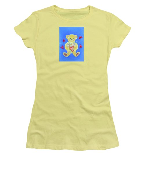 Women's T-Shirt (Junior Cut) featuring the pastel Bear With Flowers by Elizabeth Lock