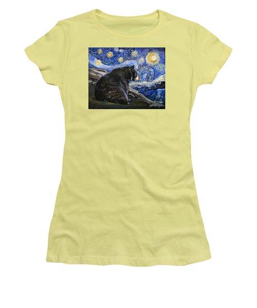 Beary Starry Nights Women's T-Shirt (Junior Cut) by J W Baker