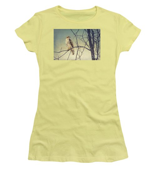 Red-tailed Hawk On Watch Women's T-Shirt (Athletic Fit)
