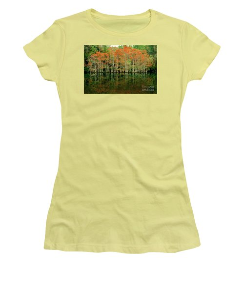 Beaver's Bend Cypress All In A Row Women's T-Shirt (Junior Cut) by Tamyra Ayles