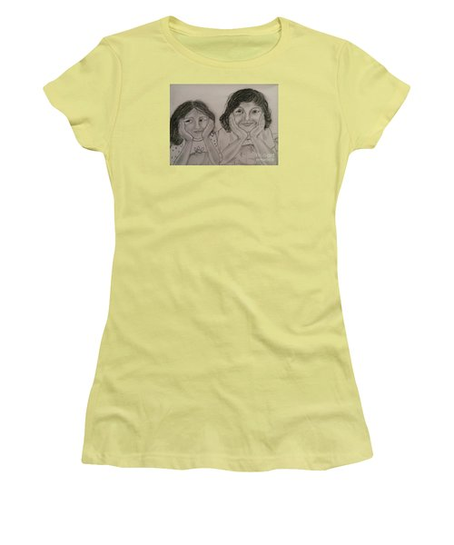 Women's T-Shirt (Junior Cut) featuring the painting Bedtime Stories by Brindha Naveen