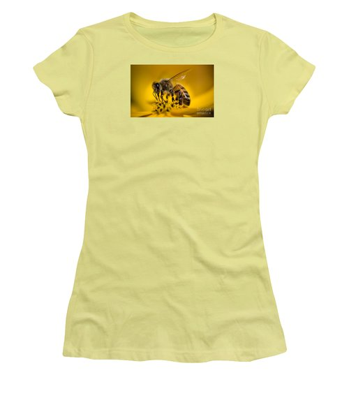 Bee Enjoys Collecting Pollen From Yellow Coreopsis Women's T-Shirt (Athletic Fit)