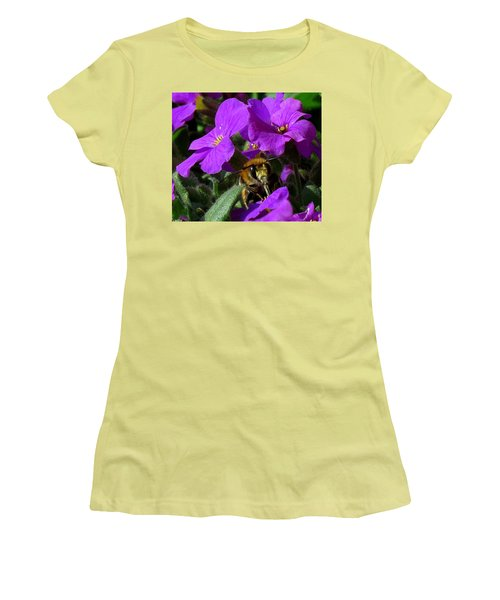 Bee Feeding On Purple Flower Women's T-Shirt (Junior Cut) by John Topman