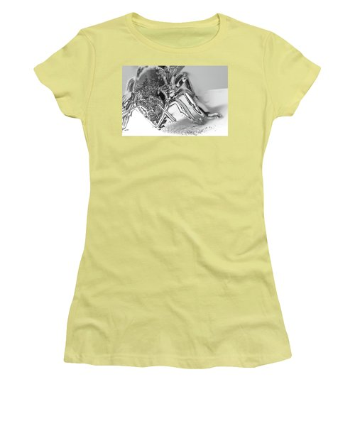 Women's T-Shirt (Junior Cut) featuring the photograph Bee In Macro Chrome by Micah May