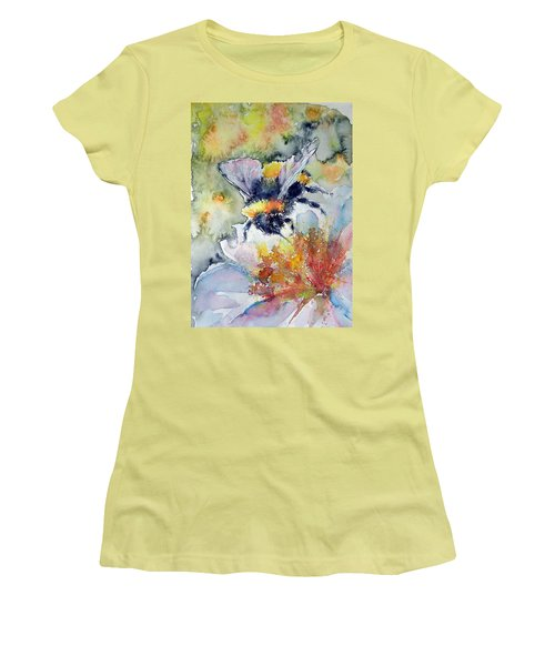 Bee On Flower Women's T-Shirt (Junior Cut) by Kovacs Anna Brigitta