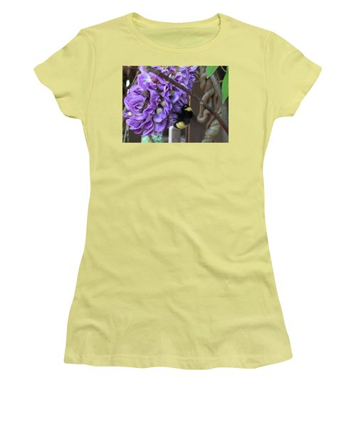 Bee On Native Wisteria Women's T-Shirt (Junior Cut) by Angela Annas