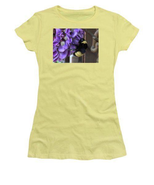Bee On Native Wisteria I Women's T-Shirt (Athletic Fit)
