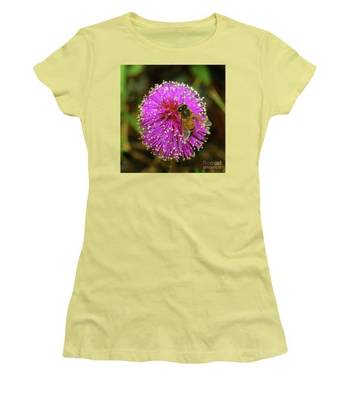 Women's T-Shirt (Junior Cut) featuring the photograph Bee On Puff Ball by Larry Nieland
