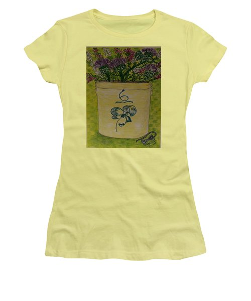 Bee Sting Crock With Good Luck Bow Heather And Thistles Women's T-Shirt (Junior Cut) by Kathy Marrs Chandler