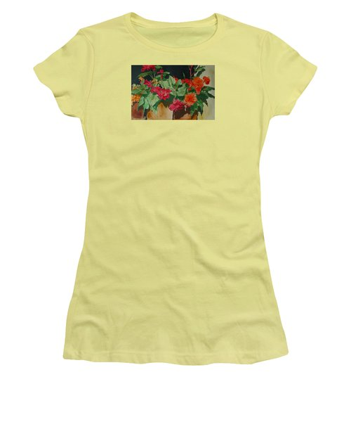 Begonias Flowers Colorful Original Painting Women's T-Shirt (Junior Cut) by Elizabeth Sawyer