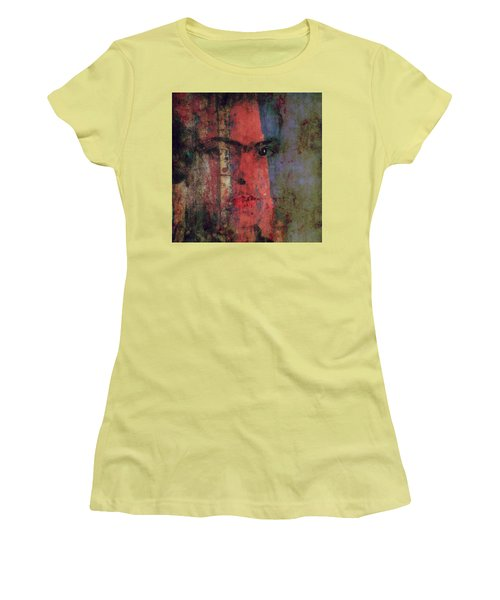 Women's T-Shirt (Junior Cut) featuring the painting Behind The Painted Smile by Paul Lovering