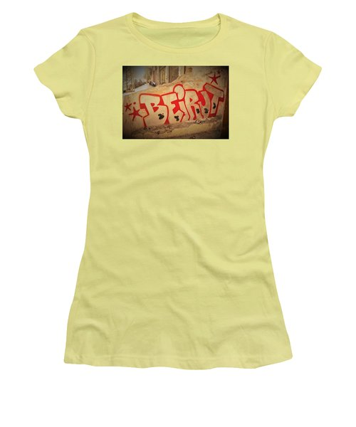 Beirut On A Graffiti Wall Women's T-Shirt (Junior Cut) by Funkpix Photo Hunter