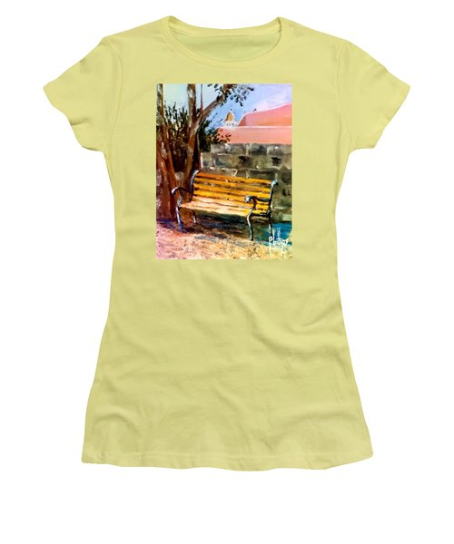 Bench At Waterfront Park Women's T-Shirt (Junior Cut) by Jim Phillips
