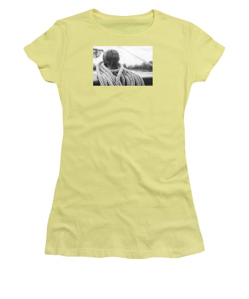Women's T-Shirt (Junior Cut) featuring the photograph Beneath The Sail Coiled Rope by Bob Decker
