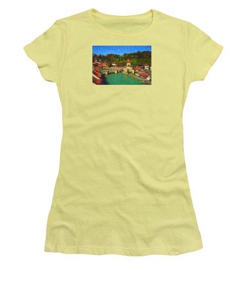 Bern On River Aare Women's T-Shirt (Junior Cut) by Gerhardt Isringhaus