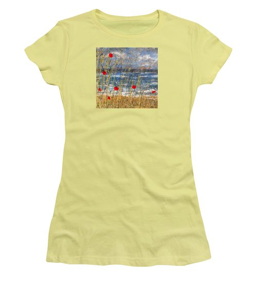 Between The Crosses Detail Women's T-Shirt (Athletic Fit)