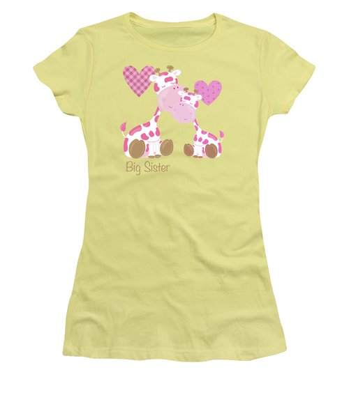 Big Sister Cute Baby Giraffes And Hearts Women's T-Shirt (Junior Cut) by Tina Lavoie