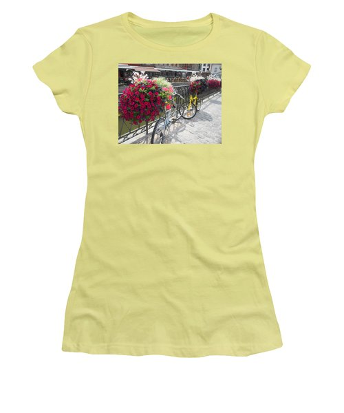 Bike And Flowers Women's T-Shirt (Junior Cut) by Therese Alcorn