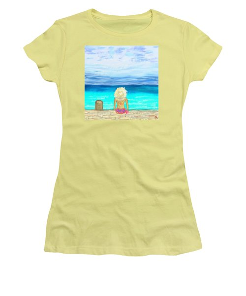 Bikini On The Pier Women's T-Shirt (Junior Cut) by Jeremy Aiyadurai
