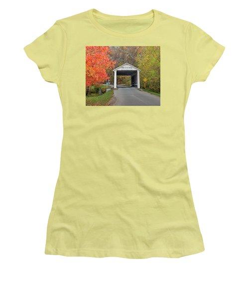 Billie Creek Covered Bridge Women's T-Shirt (Junior Cut) by Harold Rau