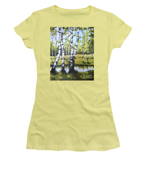 Women's T-Shirt (Junior Cut) featuring the painting Birches In Spring Mood by Inese Poga