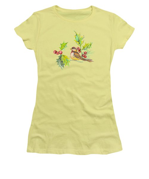 Bird Holly And Berries Women's T-Shirt (Athletic Fit)