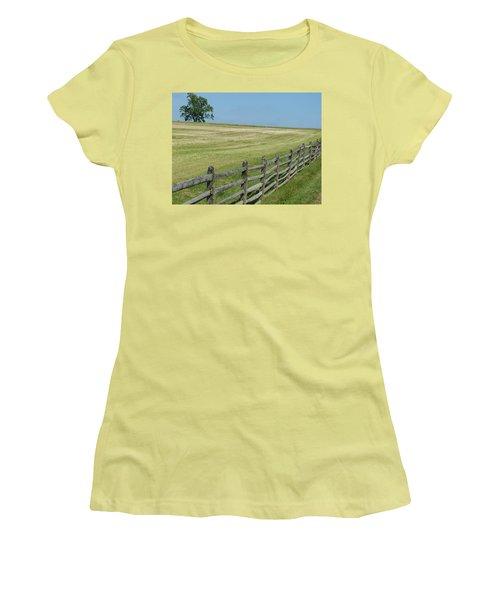 Bird On A Fence Women's T-Shirt (Junior Cut) by Donald C Morgan
