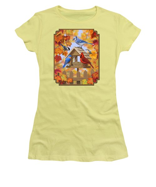 Bird Painting - Autumn Aquaintances Women's T-Shirt (Junior Cut) by Crista Forest