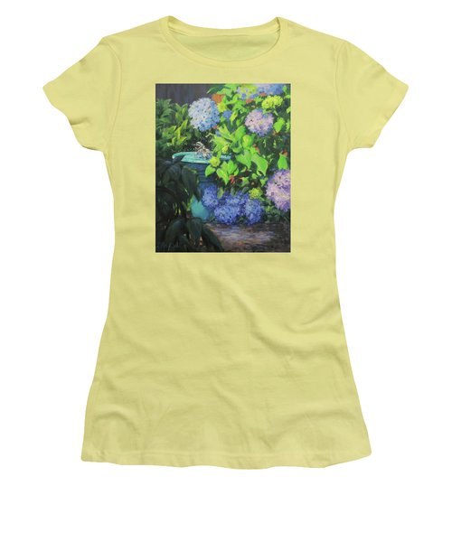 Birdbath And Blossoms Women's T-Shirt (Athletic Fit)