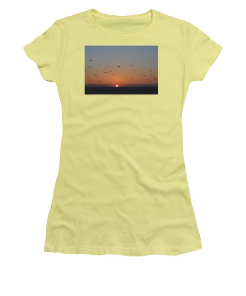 Birds In Sunset Women's T-Shirt (Athletic Fit)