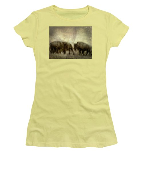 Women's T-Shirt (Athletic Fit) featuring the photograph Bison 3 by Joye Ardyn Durham