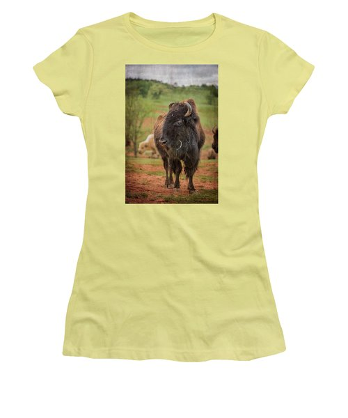 Women's T-Shirt (Athletic Fit) featuring the photograph Bison 5 by Joye Ardyn Durham