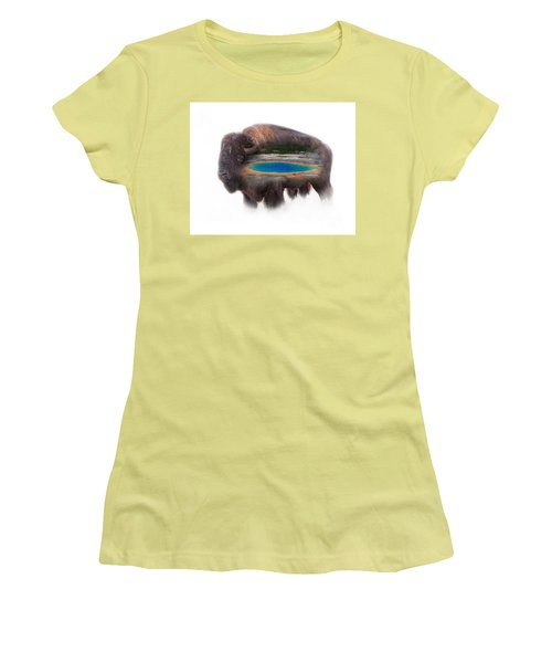 Bison And Great Prismatic Spring Double Exposure Women's T-Shirt (Athletic Fit)