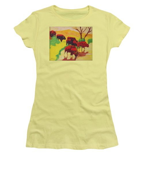 Women's T-Shirt (Junior Cut) featuring the painting Bison Art Bison Crossing Stream Yellow Hill Painting Bertram Poole by Thomas Bertram POOLE