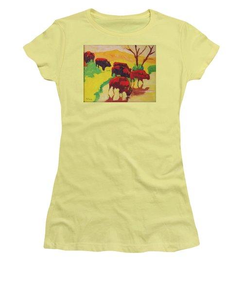 Bison Art Bison Crossing Stream Yellow Hill Painting Bertram Poole Women's T-Shirt (Junior Cut) by Thomas Bertram POOLE
