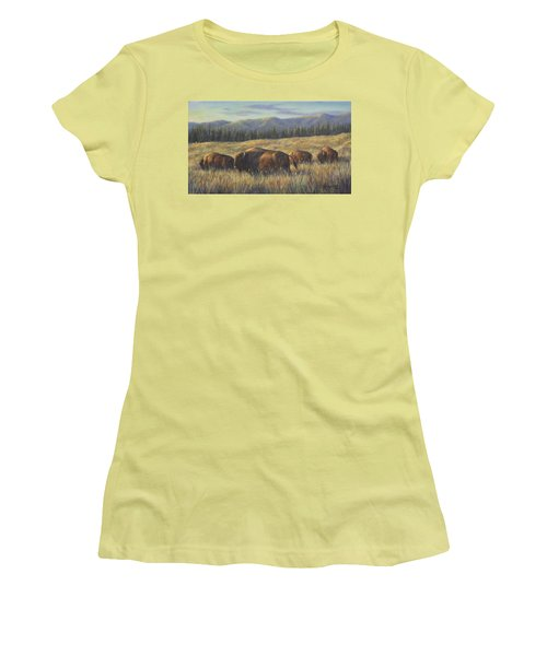 Women's T-Shirt (Junior Cut) featuring the painting Bison Bliss by Kim Lockman