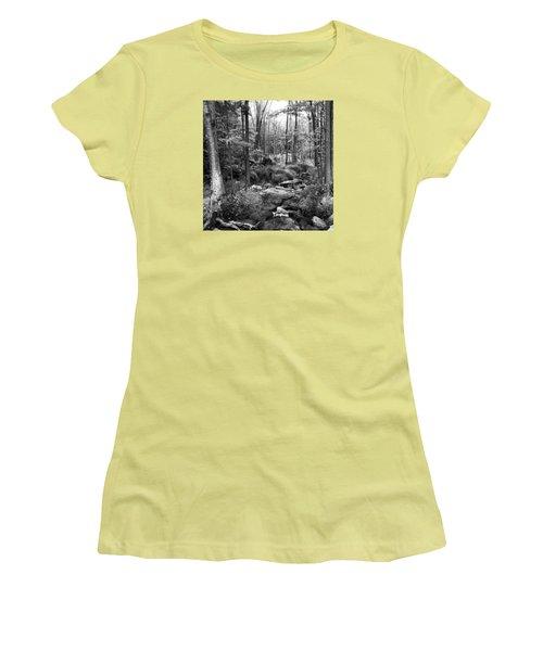 Black And White Babbling Brook Women's T-Shirt (Junior Cut) by Jason Nicholas