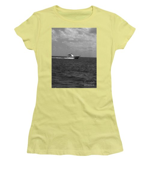Black And White Boating Women's T-Shirt (Athletic Fit)
