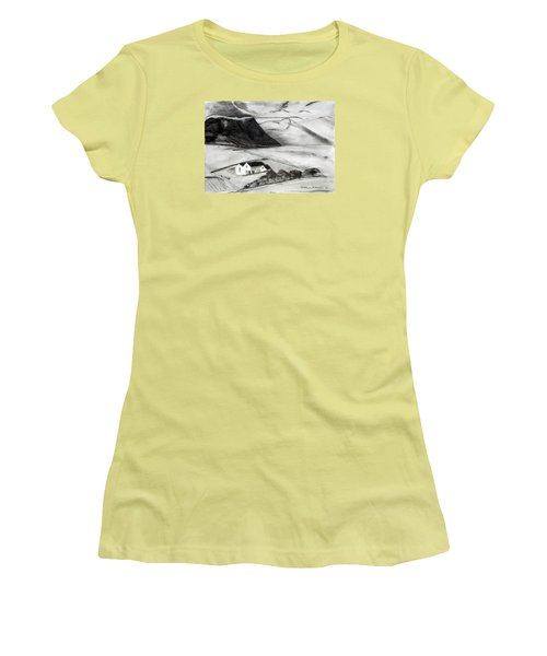 Black And White House And Hills Women's T-Shirt (Athletic Fit)