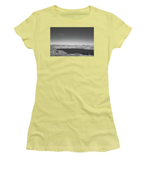 Women's T-Shirt (Junior Cut) featuring the photograph Black And White Landscape Photo Of Dry Glacia Ancian Rock Desert by Jingjits Photography