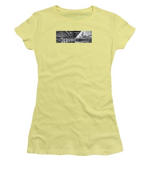 Black And White Panorama Of Downtown Austin Skyline Under The Bridge - Austin Texas  Women's T-Shirt (Junior Cut) by Silvio Ligutti