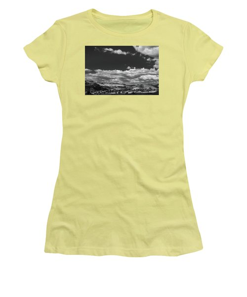 Women's T-Shirt (Junior Cut) featuring the photograph Black And White Small Town  by Jingjits Photography