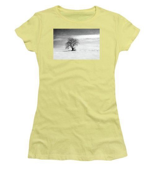 Black And White Tree In Winter Women's T-Shirt (Athletic Fit)