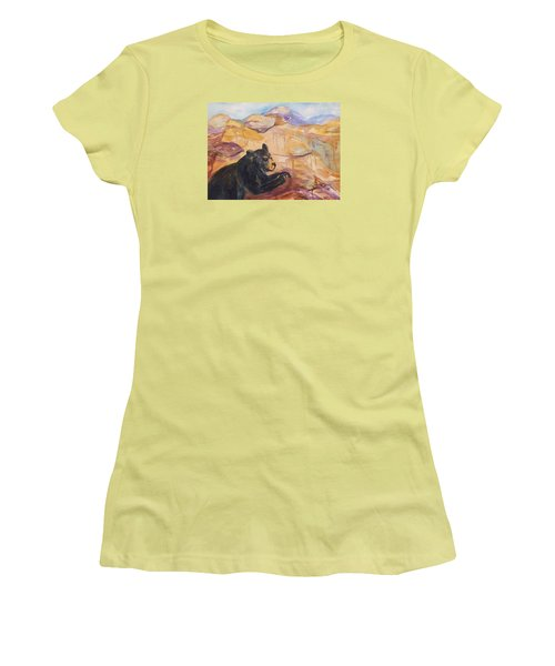 Black Bear Cub Women's T-Shirt (Junior Cut) by Ellen Levinson