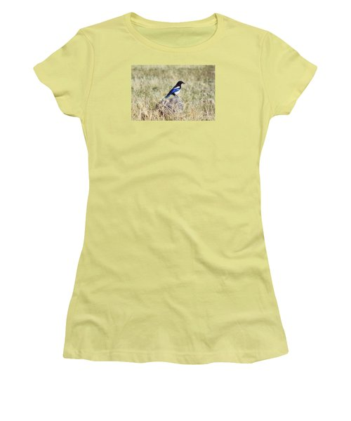 Women's T-Shirt (Junior Cut) featuring the photograph Black-billed Magpie by Janie Johnson