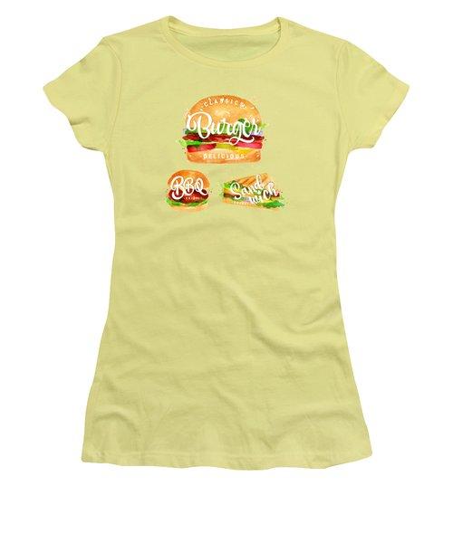 Black Burger Women's T-Shirt (Junior Cut) by Aloke Creative Store