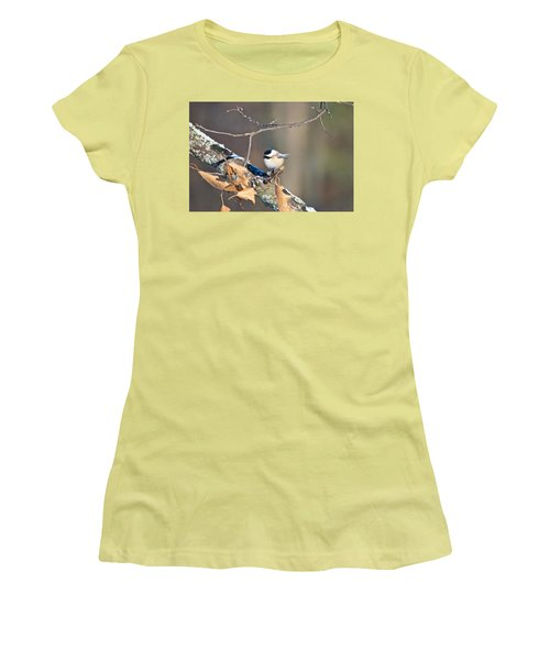 Black Capped Chickadee 1134 Women's T-Shirt (Junior Cut) by Michael Peychich