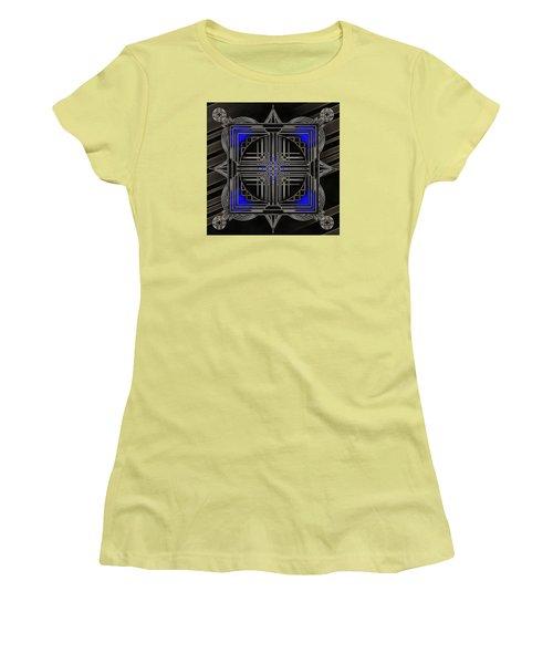 Women's T-Shirt (Junior Cut) featuring the digital art Black Mandala by Mario Carini